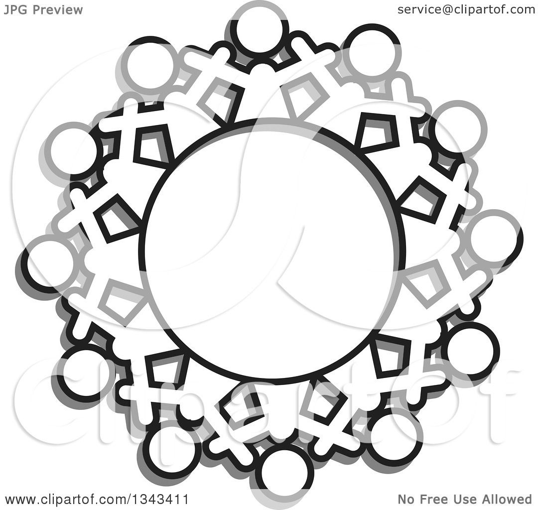 Clipart Of A Teamwork Unity Circle Of Black And White