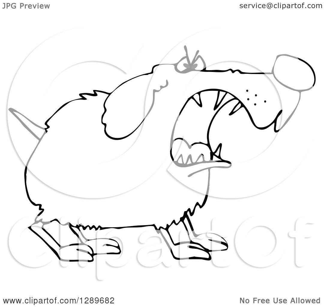 Clipart Of A Tough Black And White Dog Barking