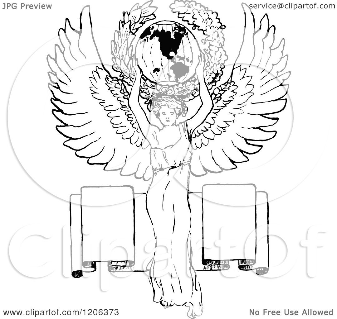 Clipart Of A Vintage Black And White Angel Holding The