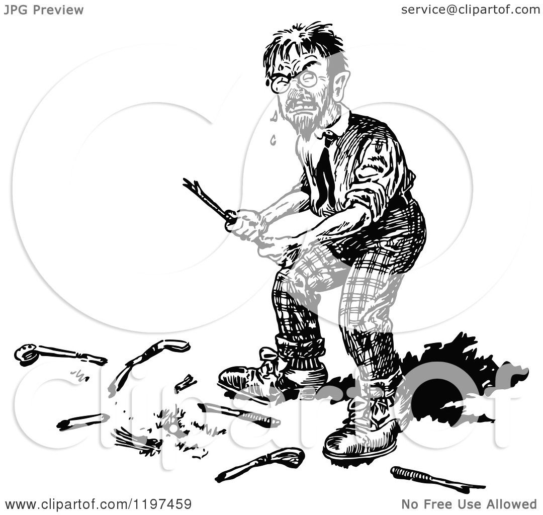 Clipart Of A Vintage Black And White Angry Golfer With A