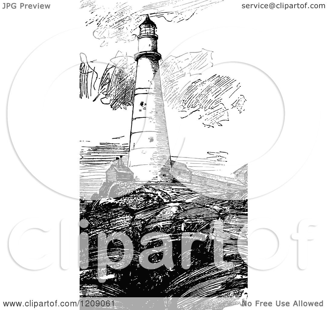 Clipart Of A Vintage Black And White Boston Lighthouse