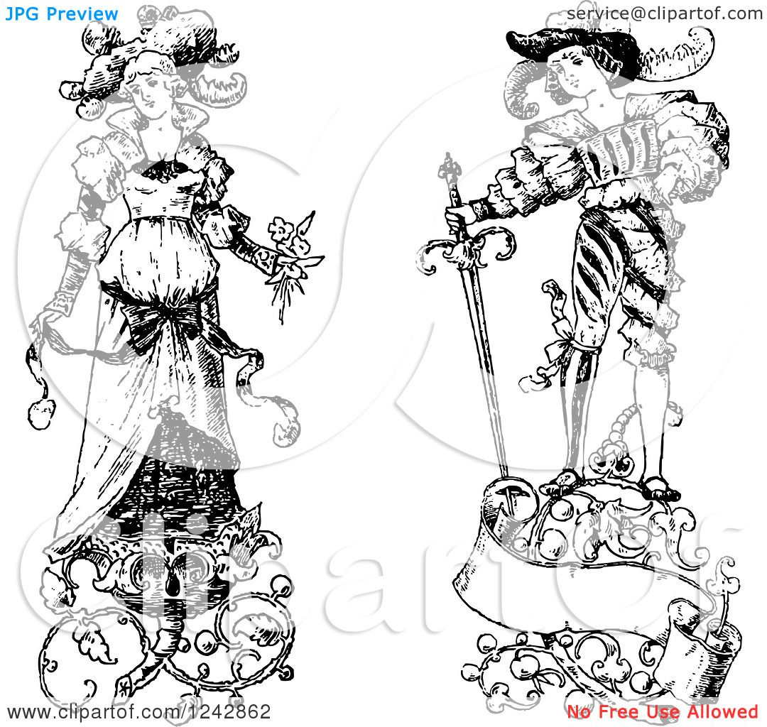 Clipart Of A Vintage Black And White Bride And Groom With