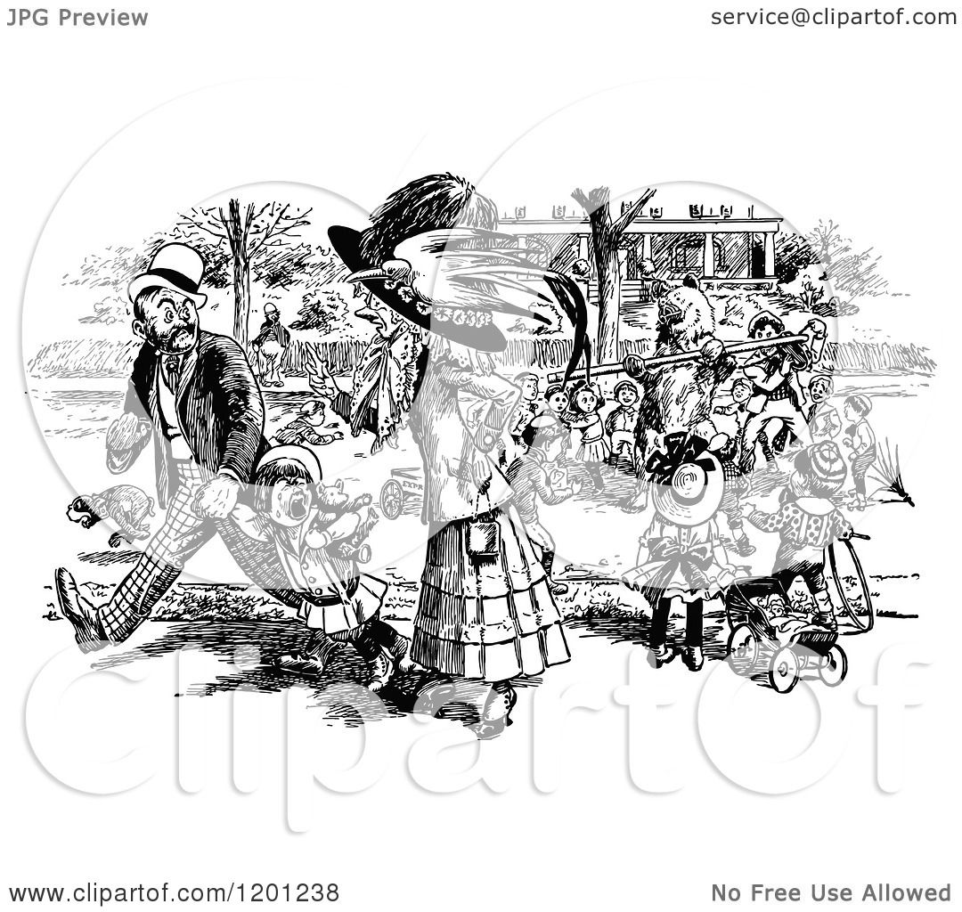 Clipart Of A Vintage Black And White Crowd Around A