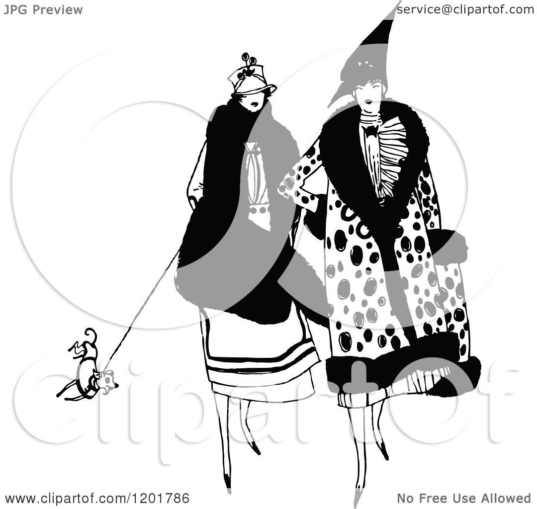 Clipart Of A Vintage Black And White Dog Being Drug By