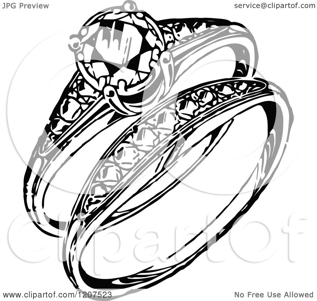 Clipart Of A Vintage Black And White Engagement Ring And