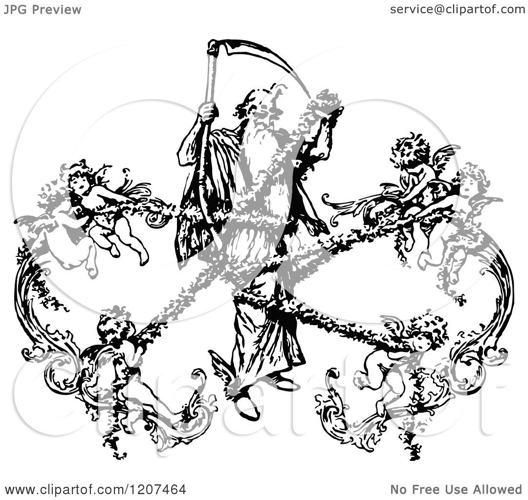 Clipart Of A Vintage Black And White Grim Reaper Being