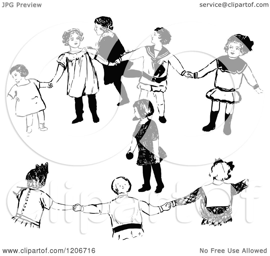 Clipart Of A Vintage Black And White Group Of Children