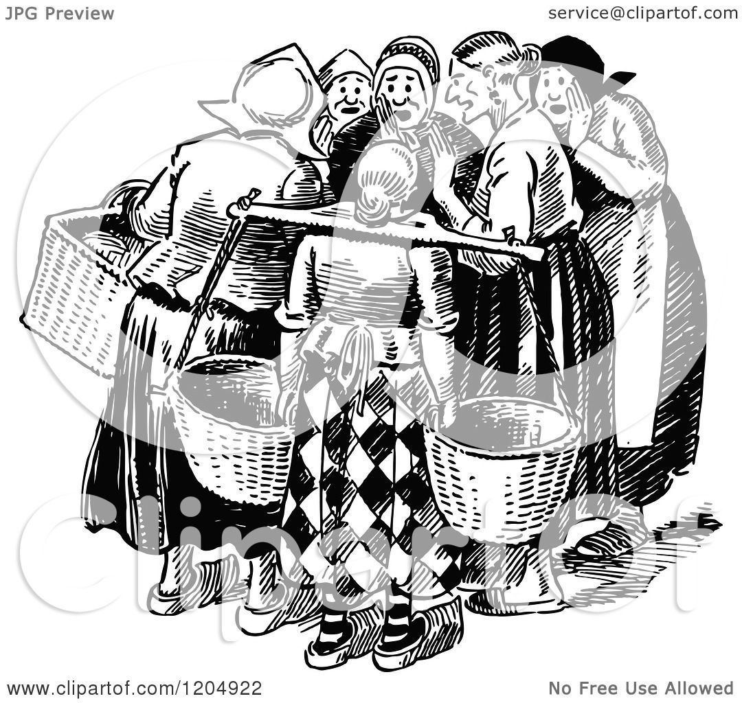 Clipart Of A Vintage Black And White Group Of Gossiping