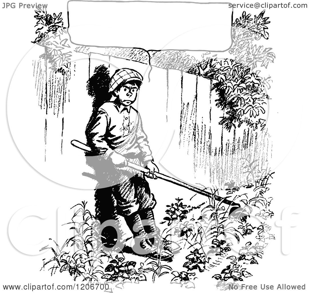 Clipart Of A Vintage Black And White Grumpy Gardening Boy