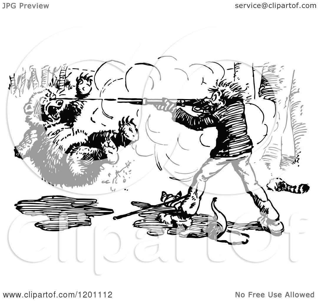 Clipart Of A Vintage Black And White Hunter Shooting A