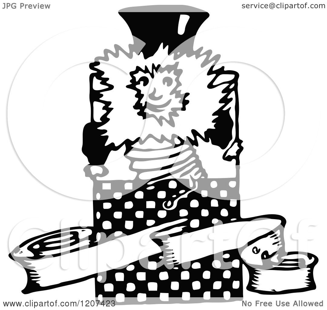 Clipart Of A Vintage Black And White Jack In The Box And