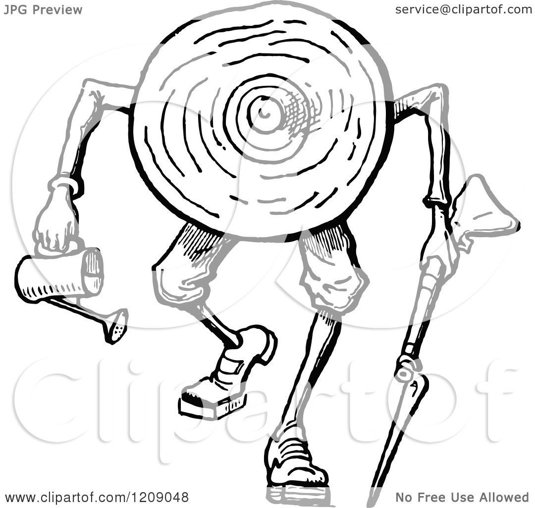 Clipart Of A Vintage Black And White Log Man Carrying A