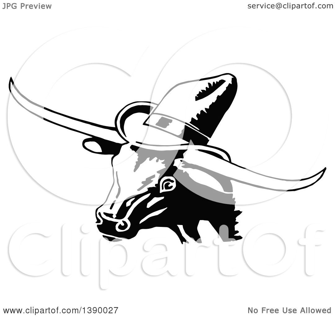 Clipart Of A Vintage Black And White Longhorn Cow Wearing