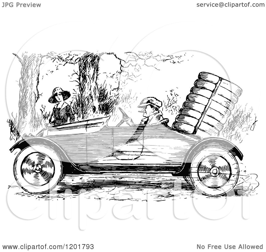 Clipart Of A Vintage Black And White Man Driving A Vintage Car By A Woman