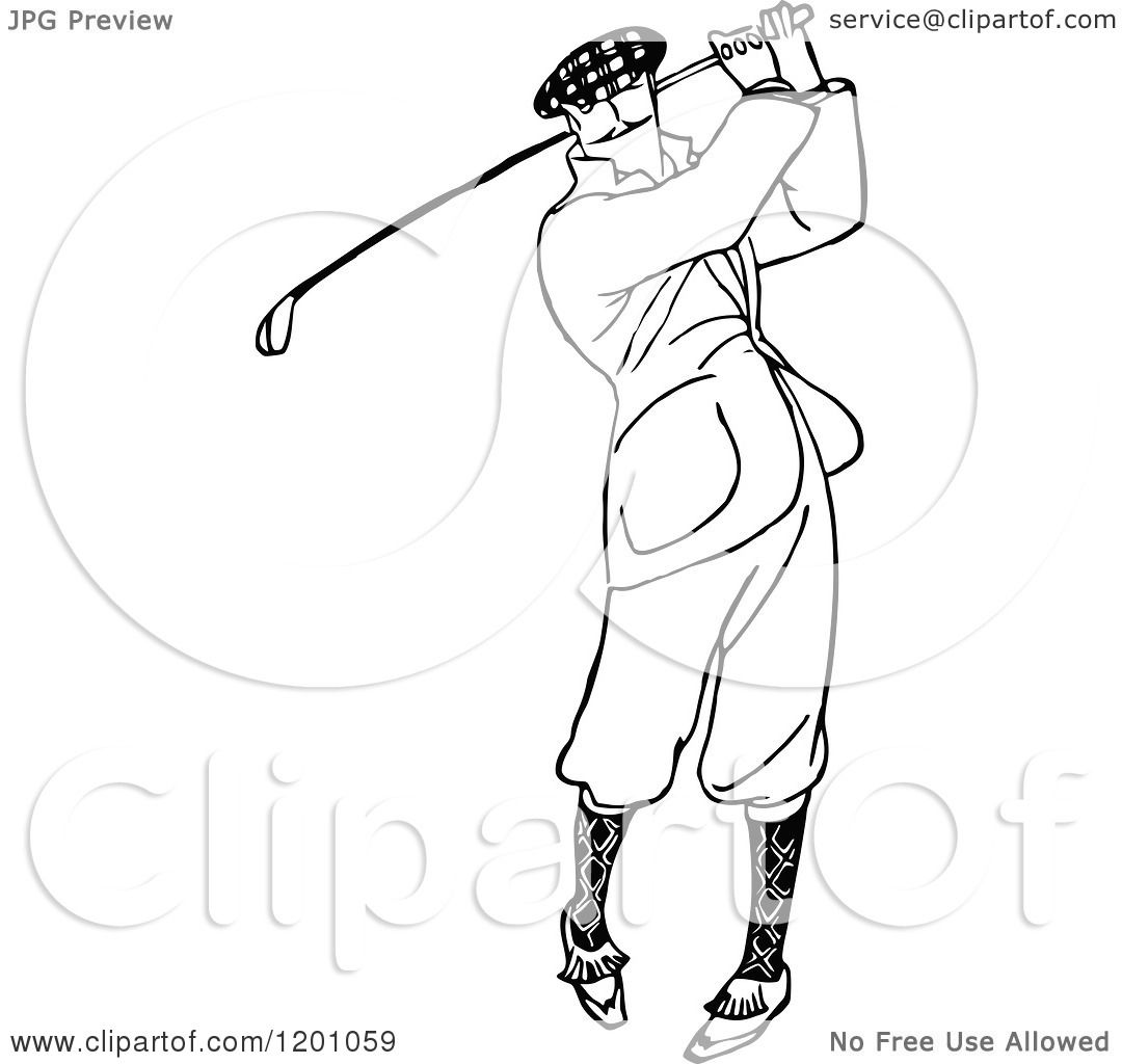 Clipart Of A Vintage Black And White Man Golfing