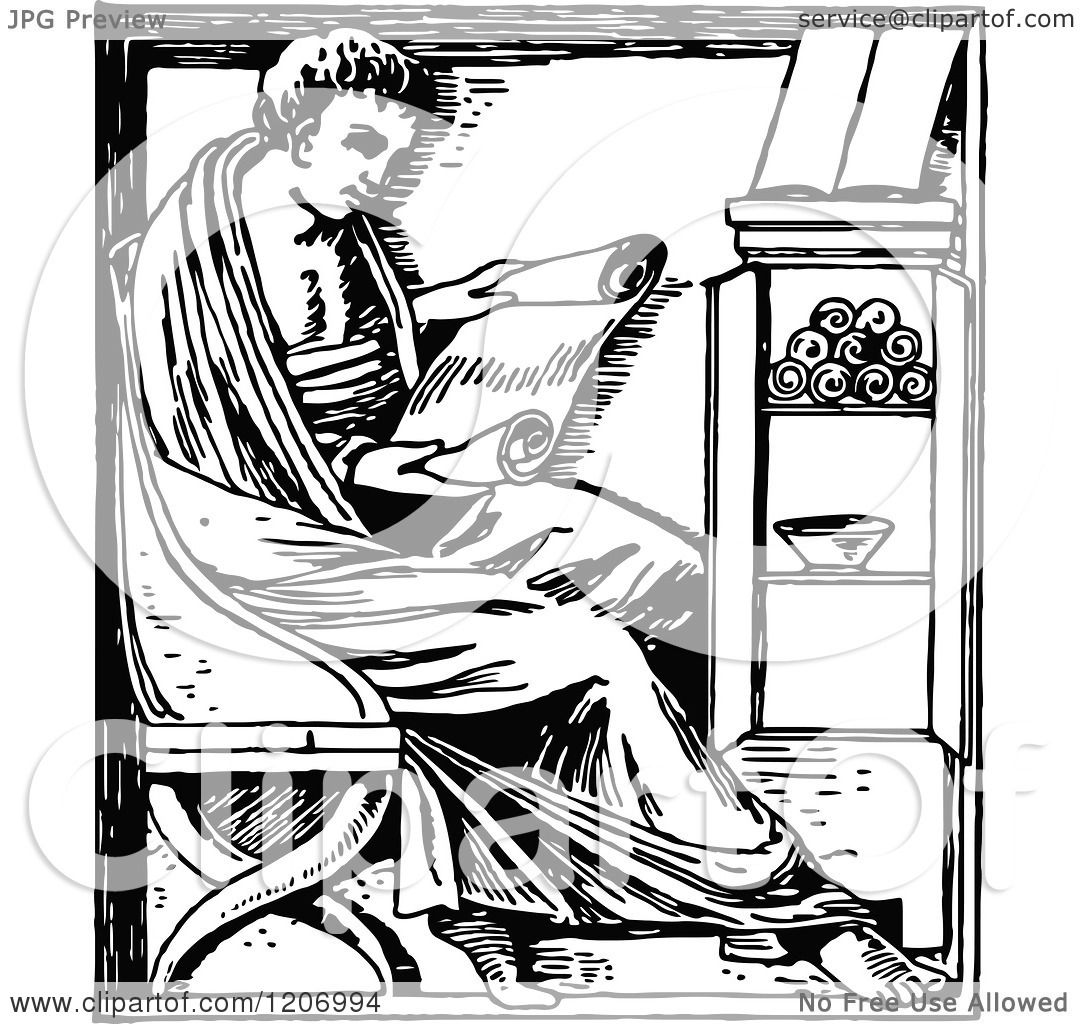 Clipart Of A Vintage Black And White Man Reading A Scroll