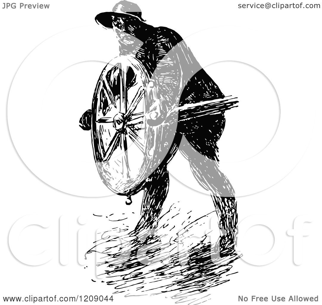 Clipart Of A Vintage Black And White Man Steering A Ship