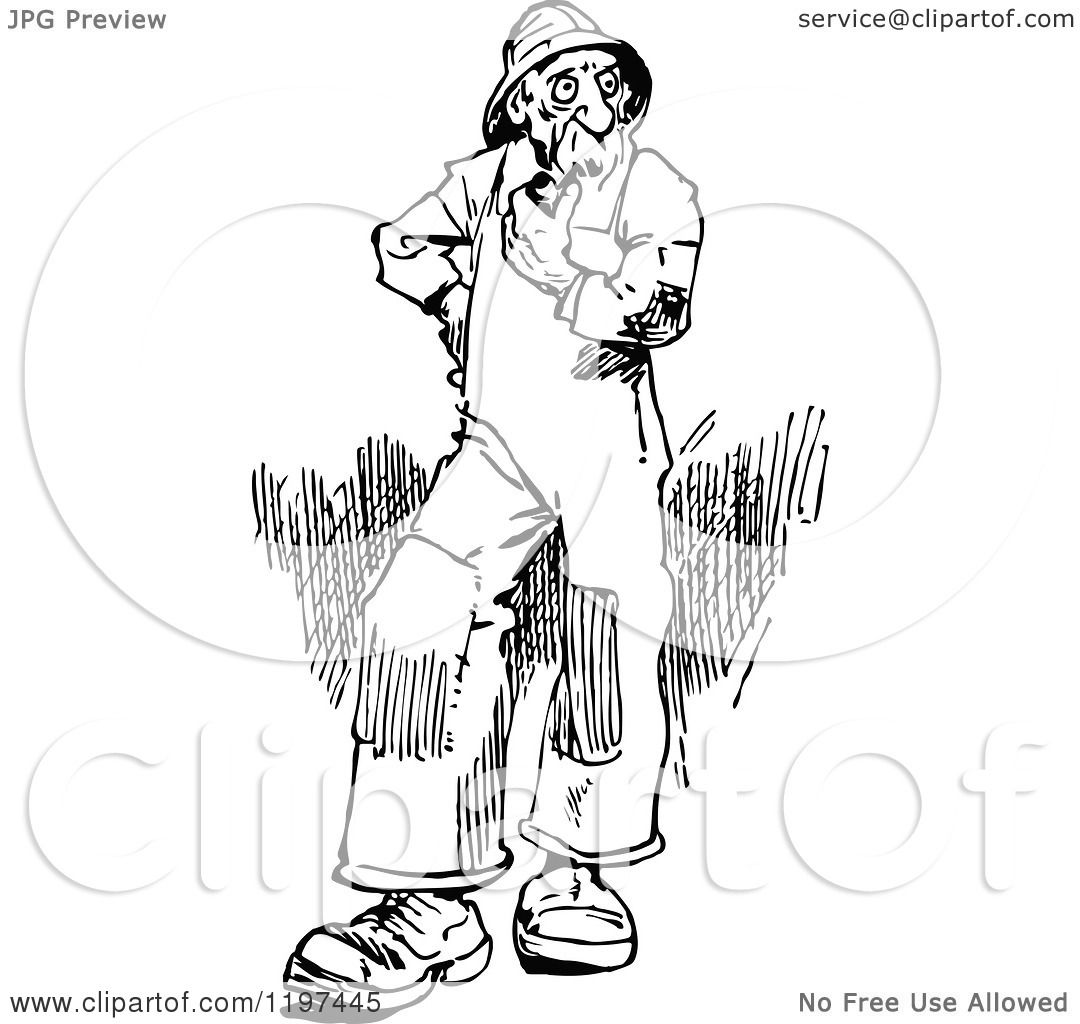 Clipart Of A Vintage Black And White Old Man Smoking A