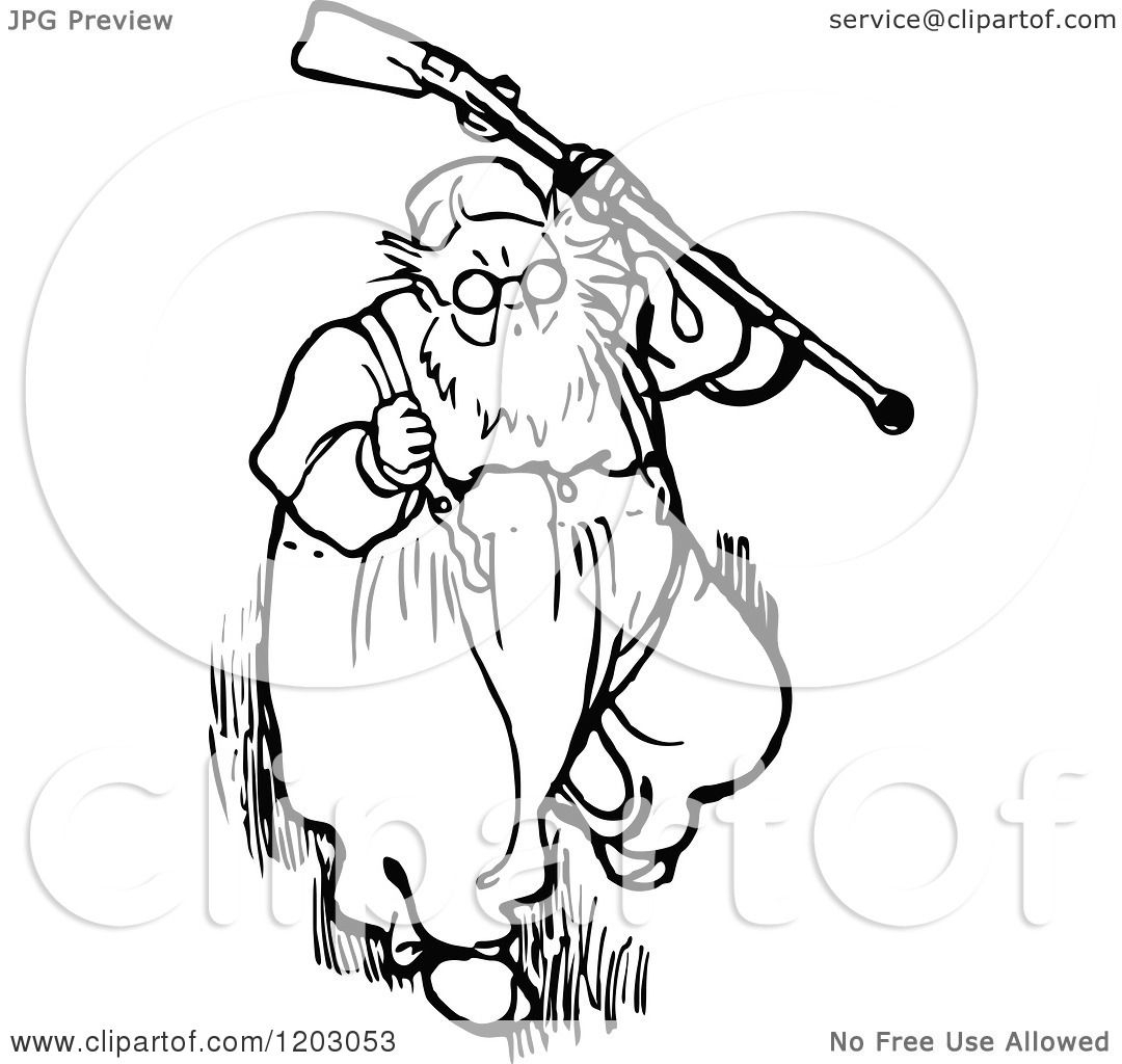 Clipart Of A Vintage Black And White Old Man With A Gun