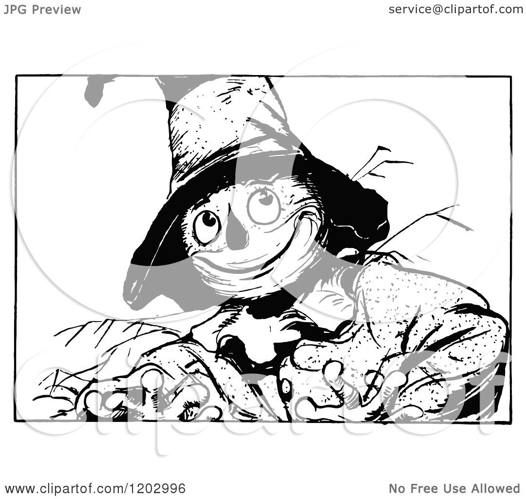 Clipart Of A Vintage Black And White Oz Scarecrow