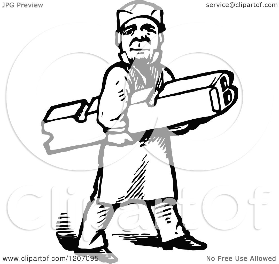 Clipart Of A Vintage Black And White Printer Worker