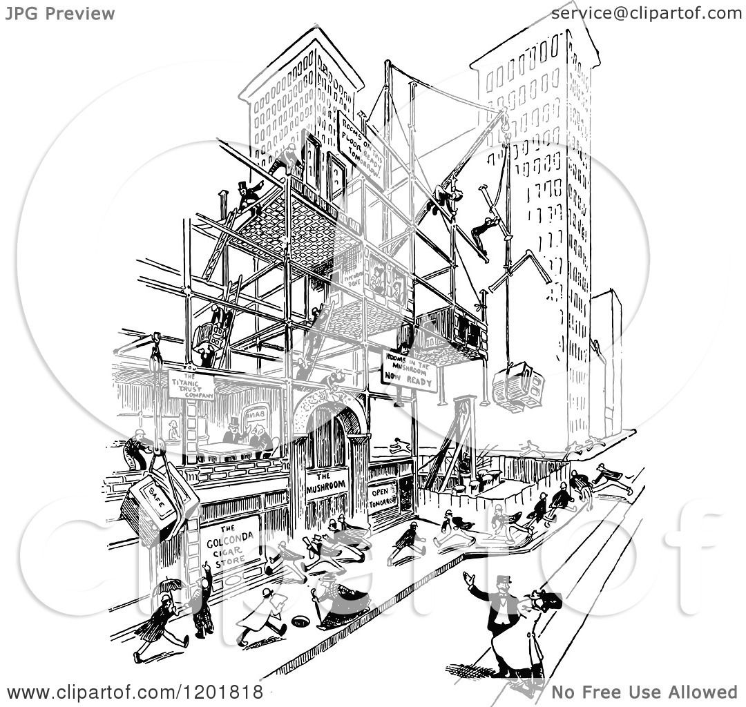 Clipart Of A Vintage Black And White Scaffolded Building