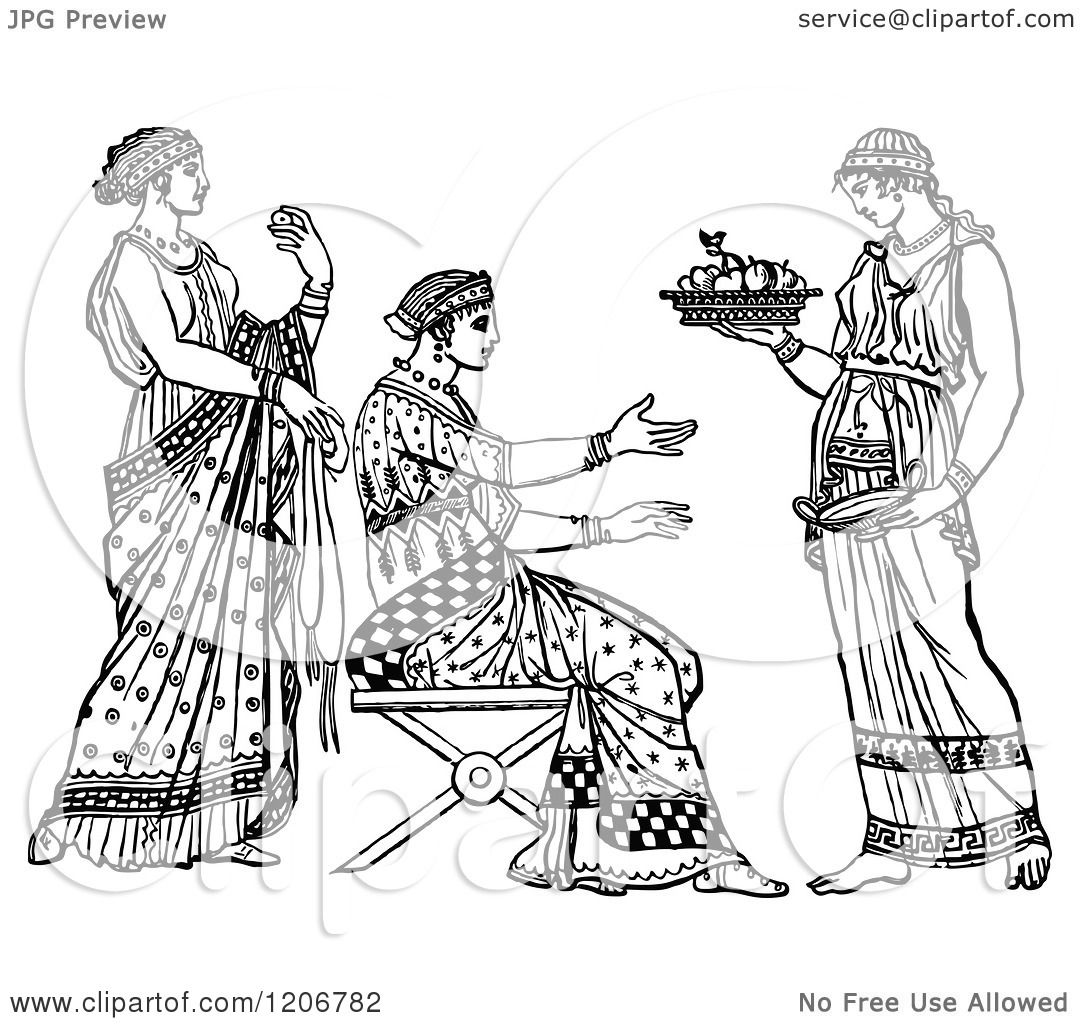 Clipart Of A Vintage Black And White Servant And Grecian