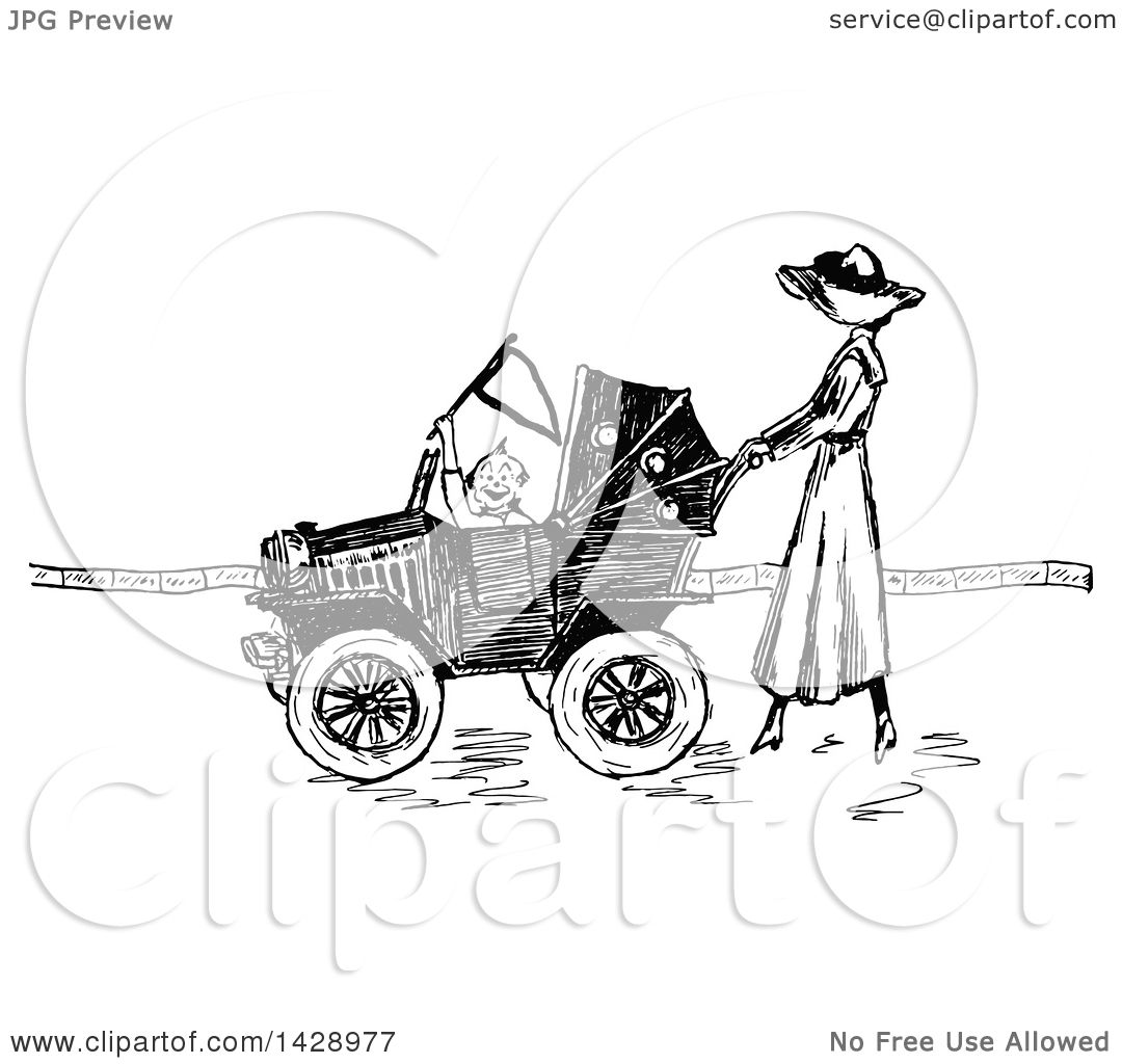 Clipart Of A Vintage Black And White Sketched Woman Pushing A Baby In A Car Stroller