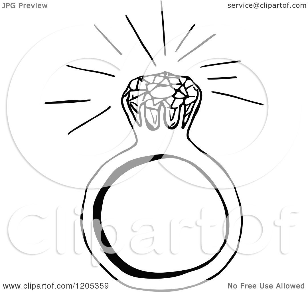 Clipart Of A Vintage Black And White Sparkling Diamond