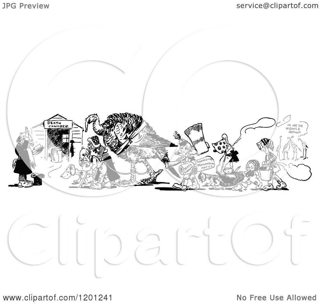 Clipart Of A Vintage Black And White Turkey Being Led To