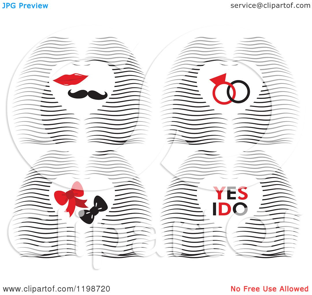 Clipart Of A Waves And Hearts With Rings Lips Mustahe Bows