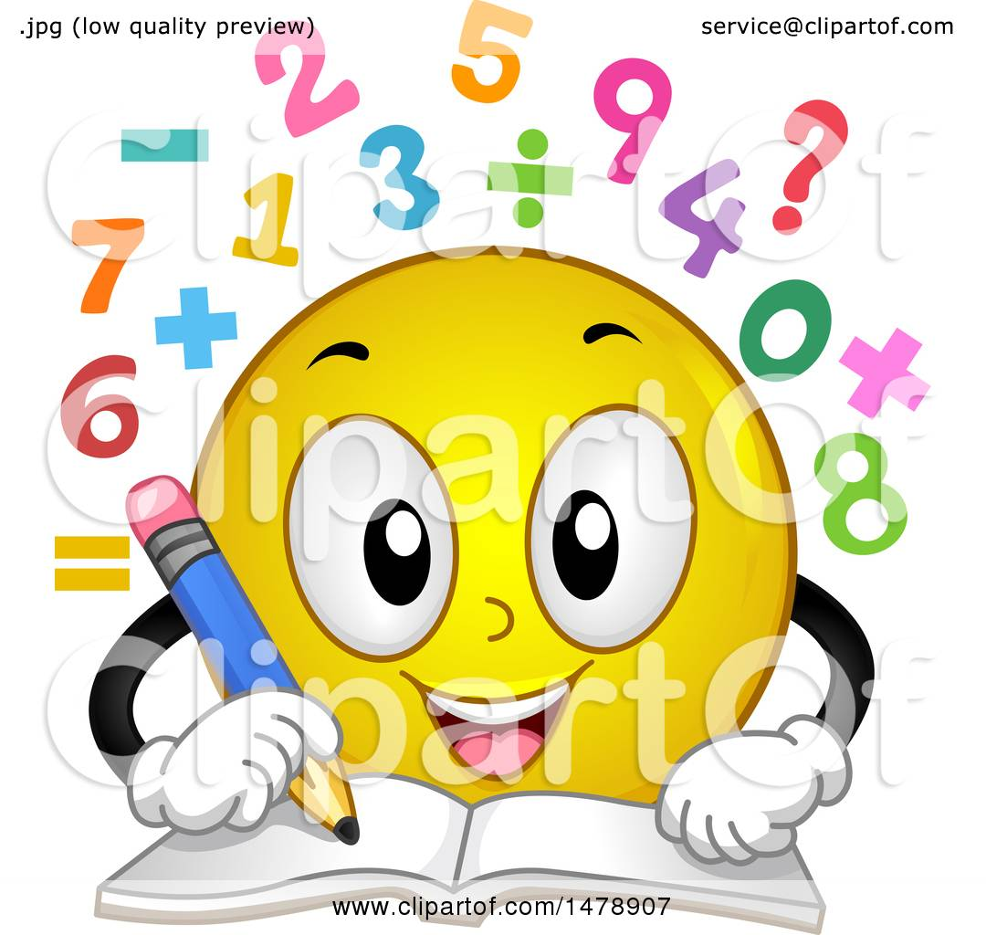 Clipart Of A Yellow Smiley Face Emoji Solving Math