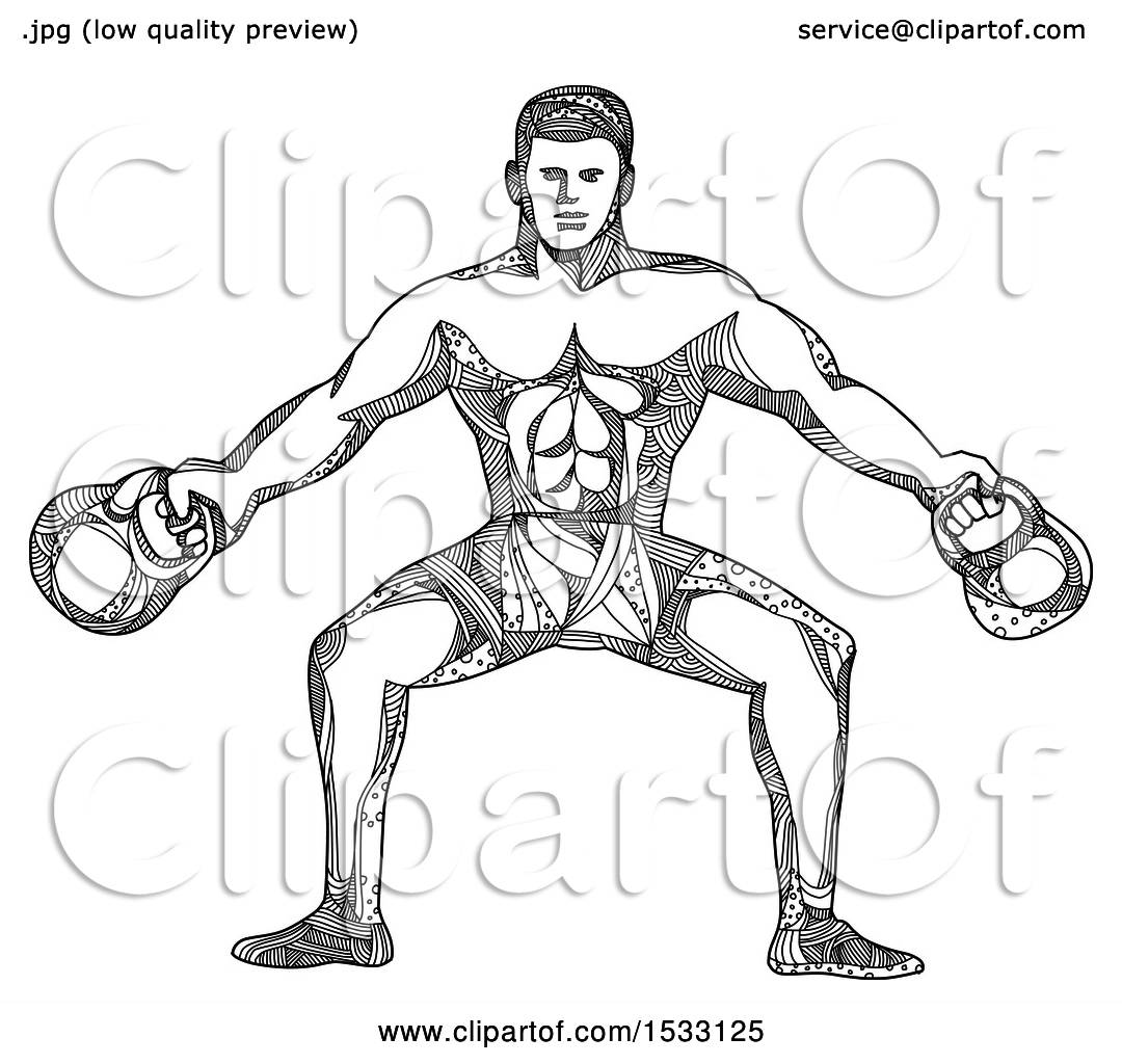Clipart Of A Zentangle Bodybuilder Working Out With