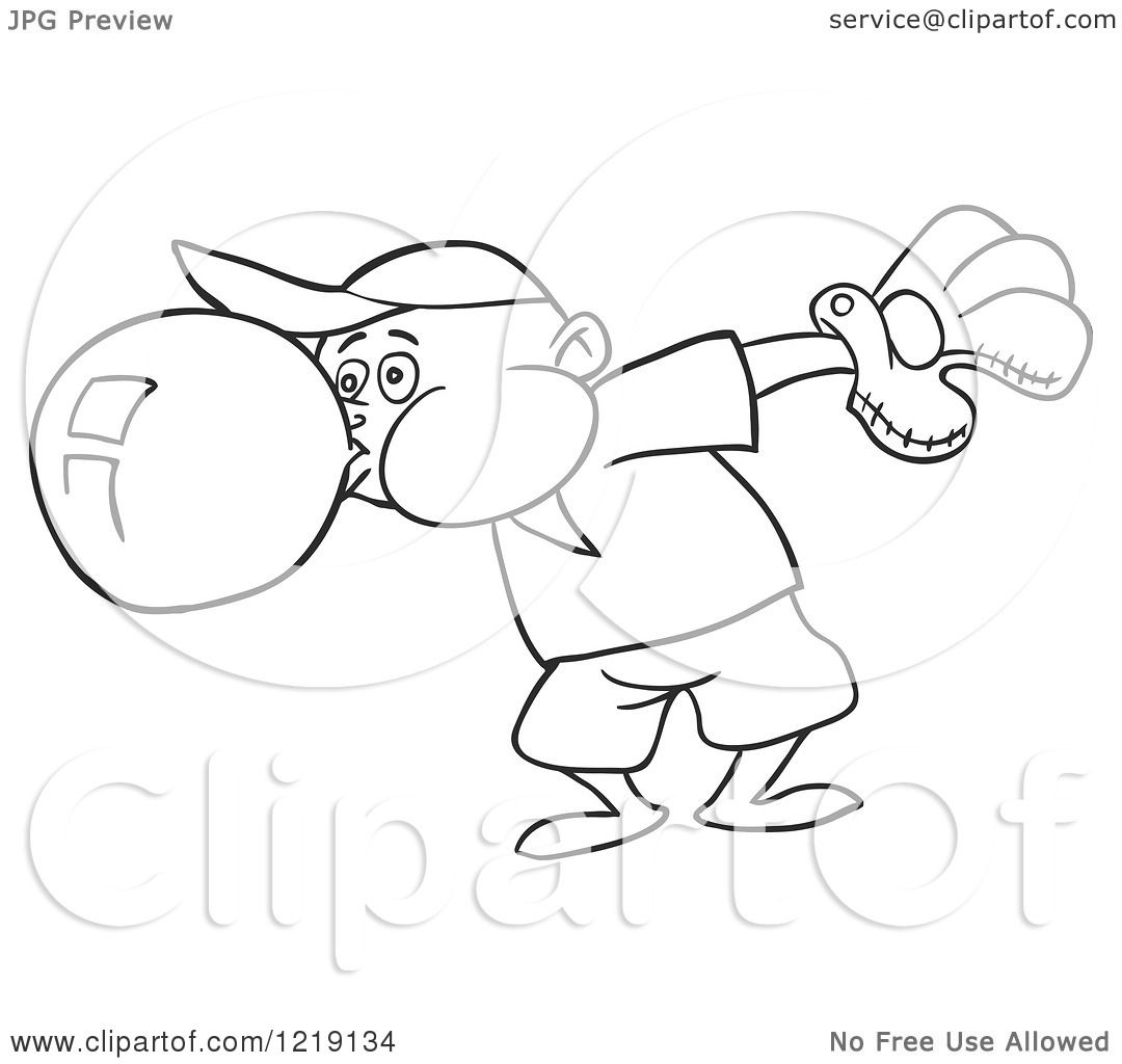 Clipart Of An Outlined Baseball Boy Blowing Bubble Gum