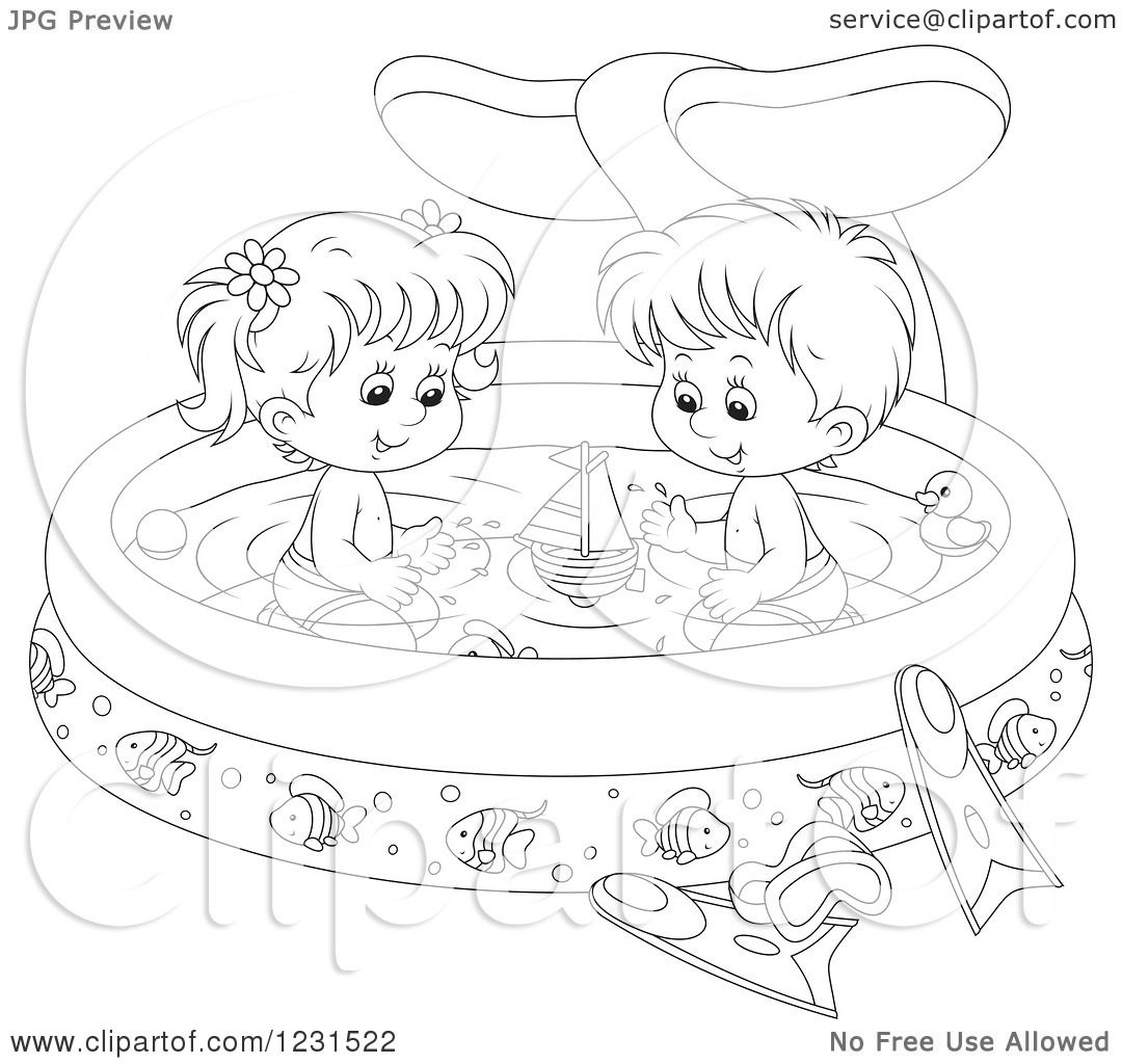 Clipart Of An Outlined Boy And Girl With Toys In A Whale