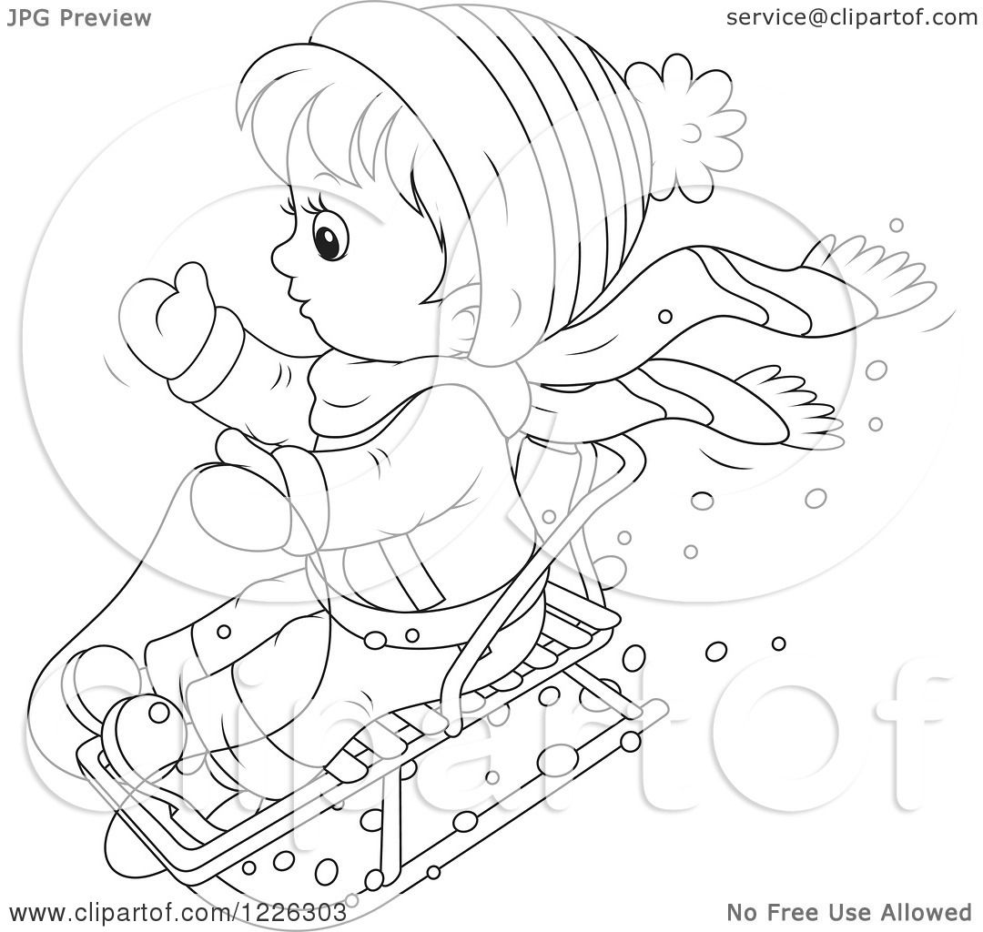 Clipart Of An Outlined Boy On A Snow Sled