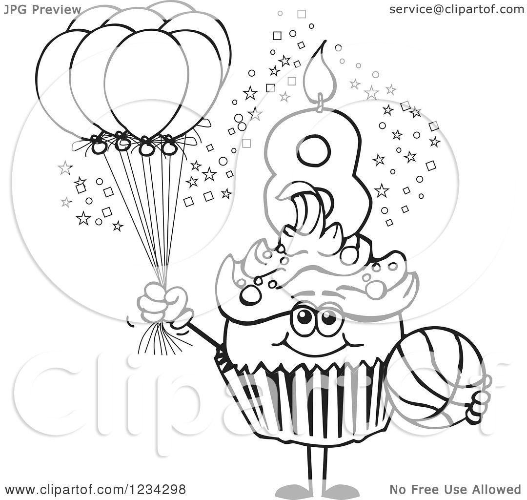 Clipart Of An Outlined Boys Eighth Birthday Cupcake With A