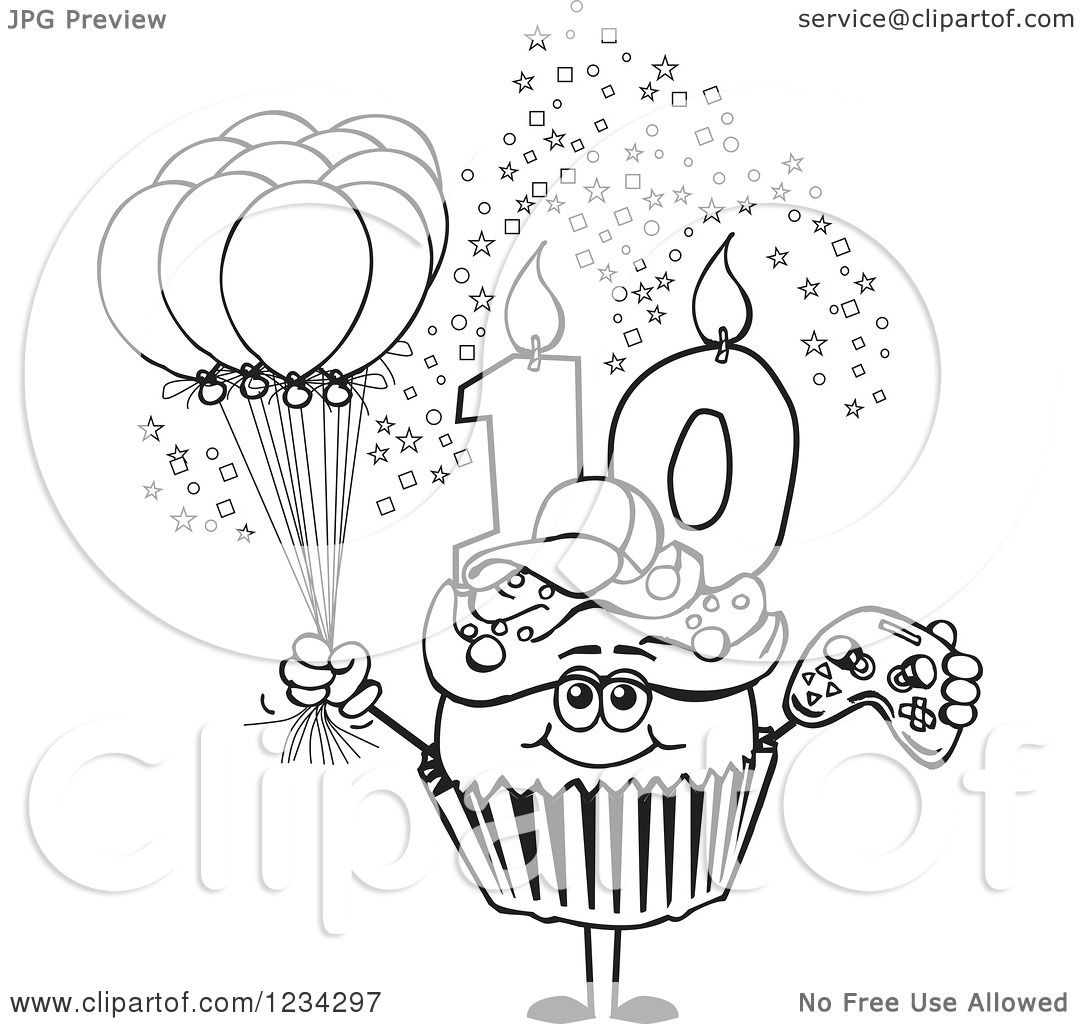 Clipart Of An Outlined Boys Tenth Birthday Cupcake With A
