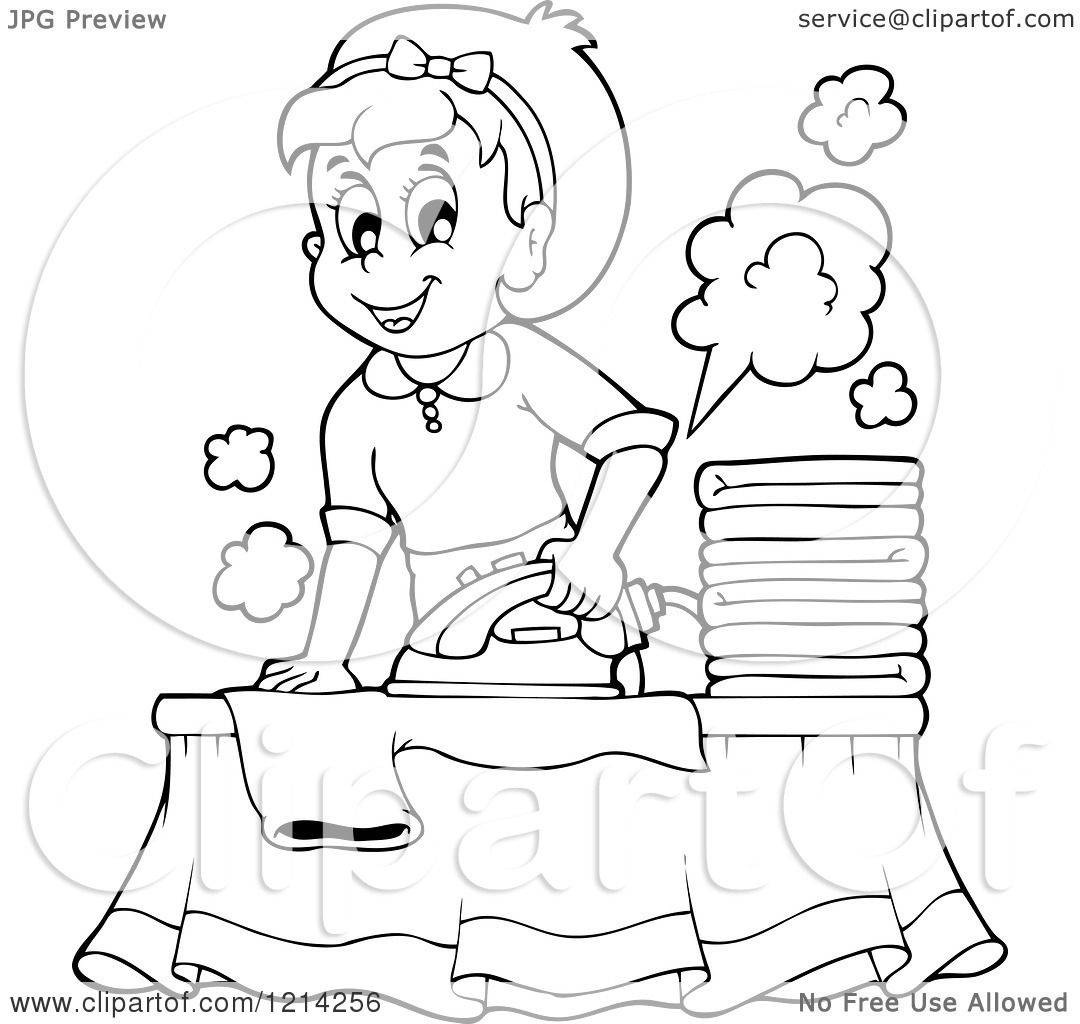 Clipart Of An Outlined Cartoon Happy Housewife Ironing