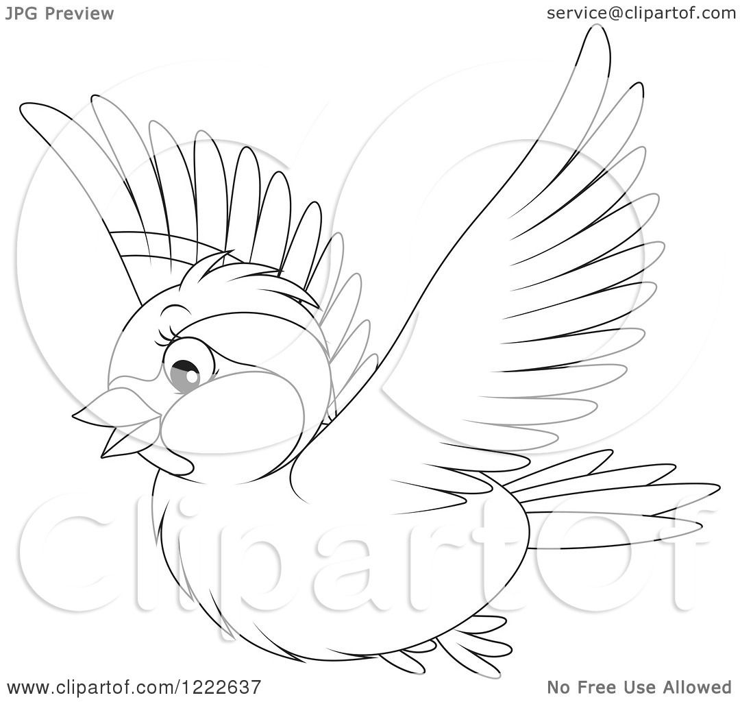Clipart Of An Outlined Cute Sparrow Bird Flying