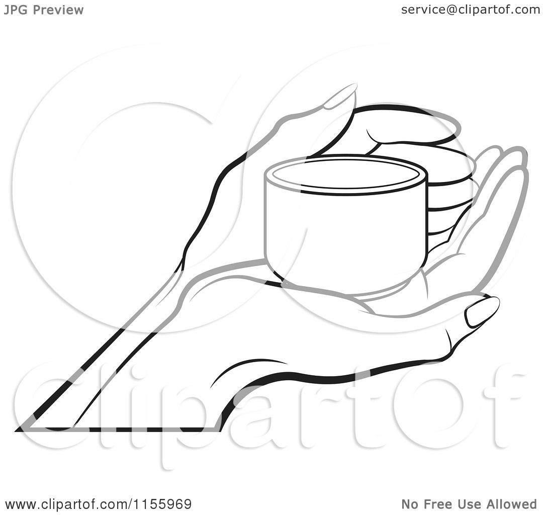 Clipart Of An Outlined Hand Holding A Small Cup