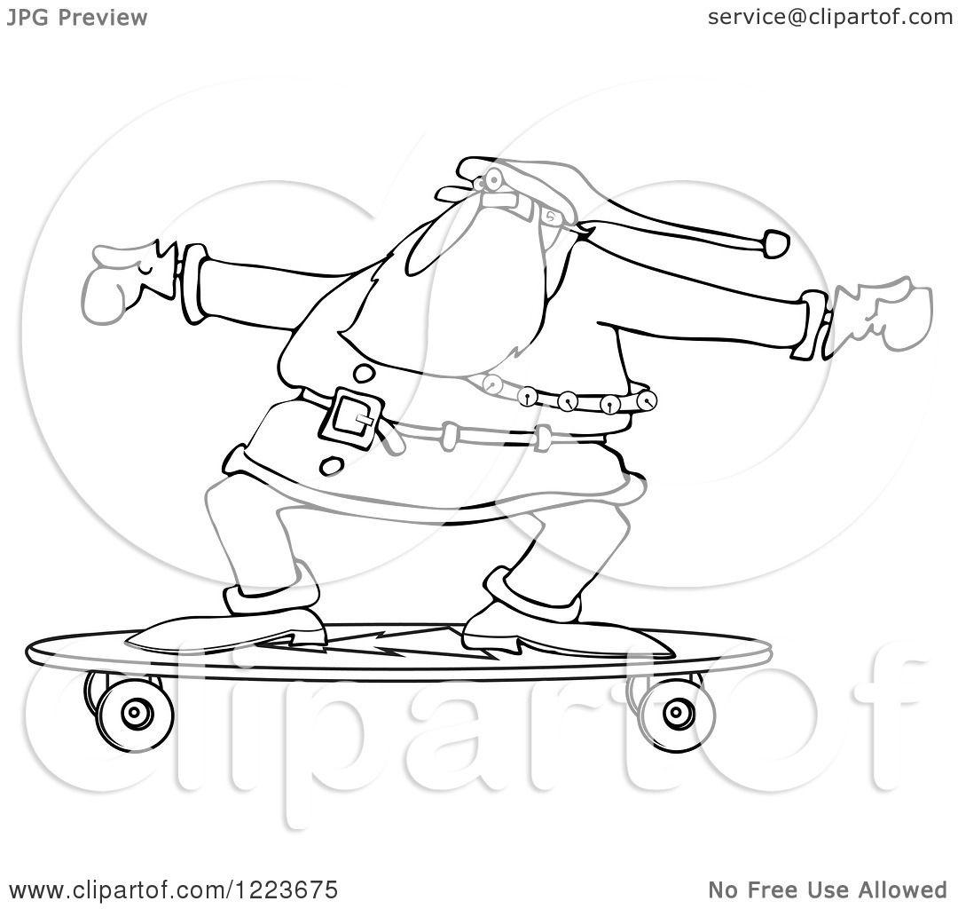 Clipart Of An Outlined Santa Skateboarding On A Longboard