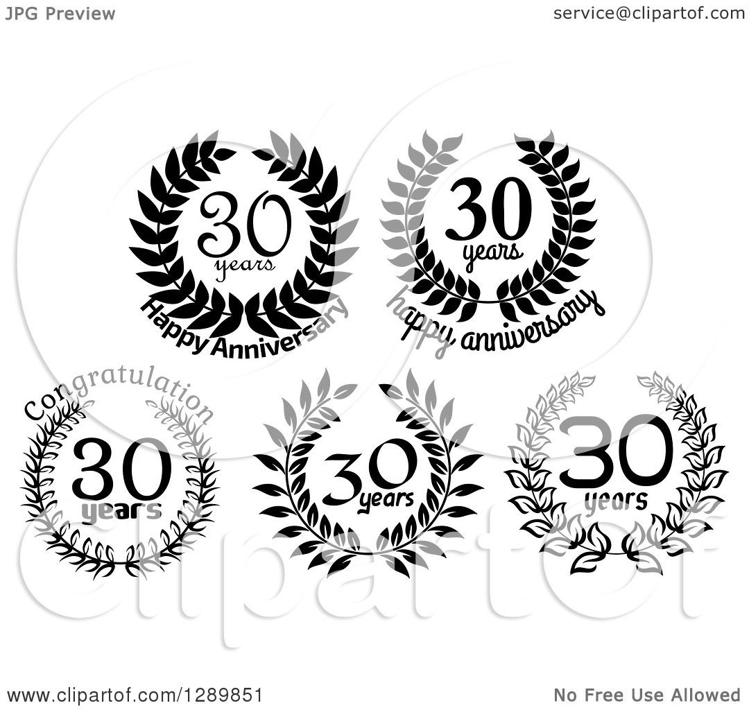 Download Clipart of Black and White 30 Year Anniversary Wreath ...