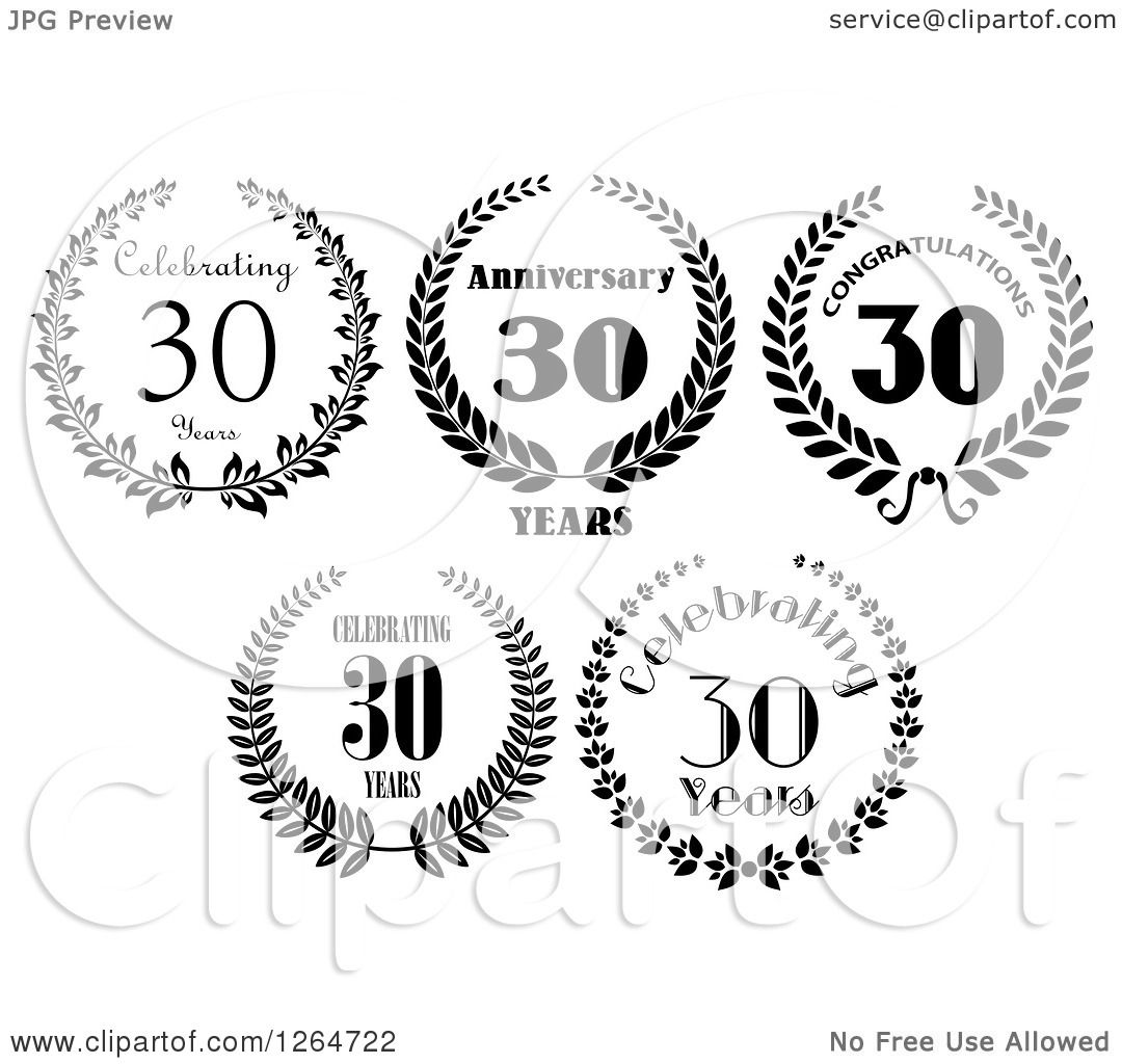 Download Clipart of Black and White 30 Years Anniversary Designs ...