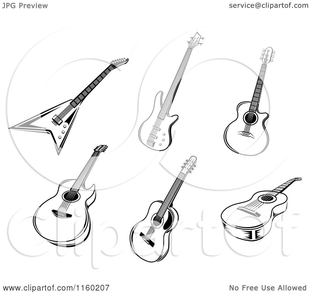 Clipart Of Black And White Acoustic And Electric Guitars