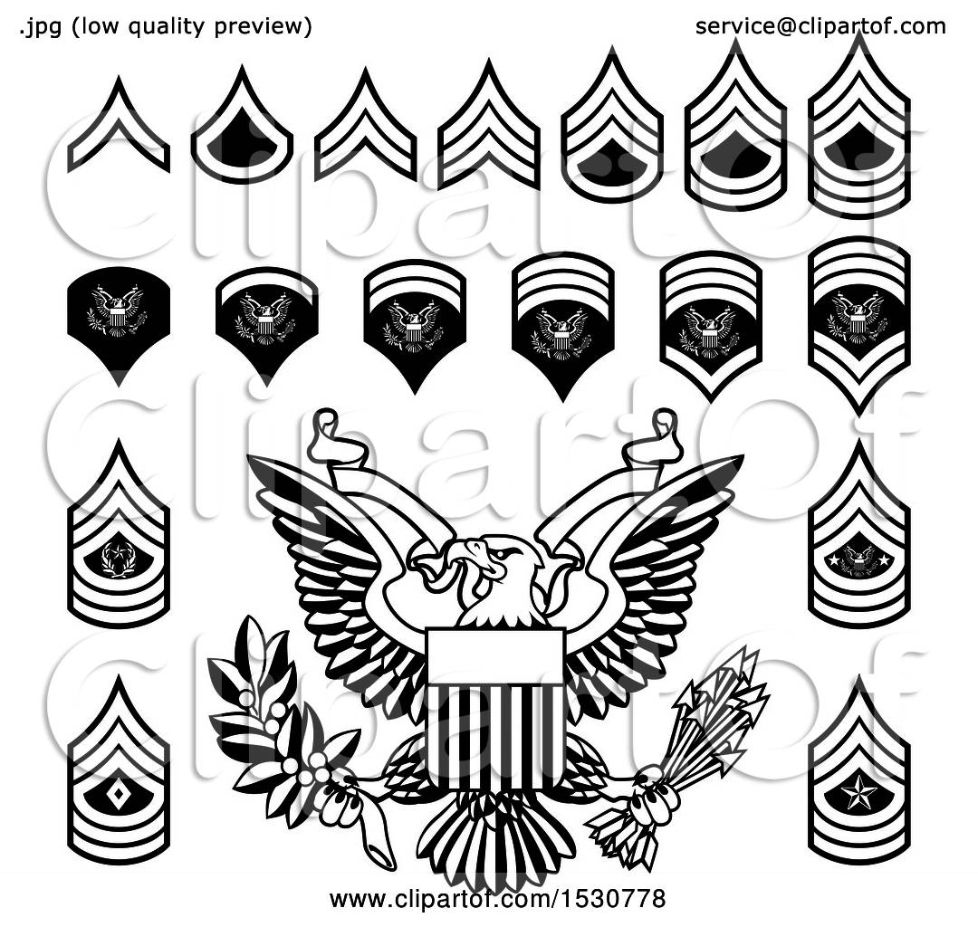 Clipart Of Black And White American Military Army Officer