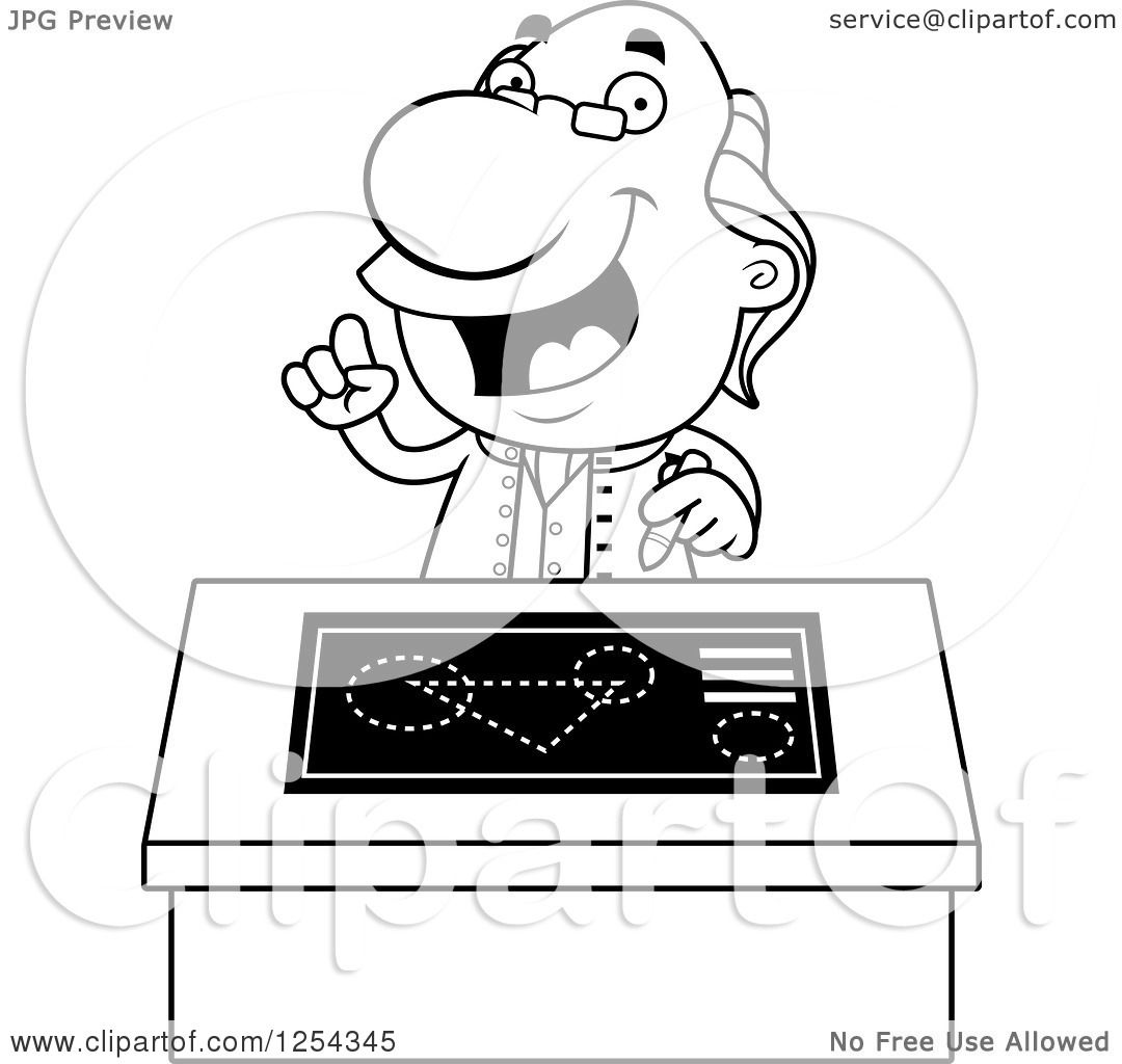 Clipart Of Black And White Benjamin Franklin Talking At A