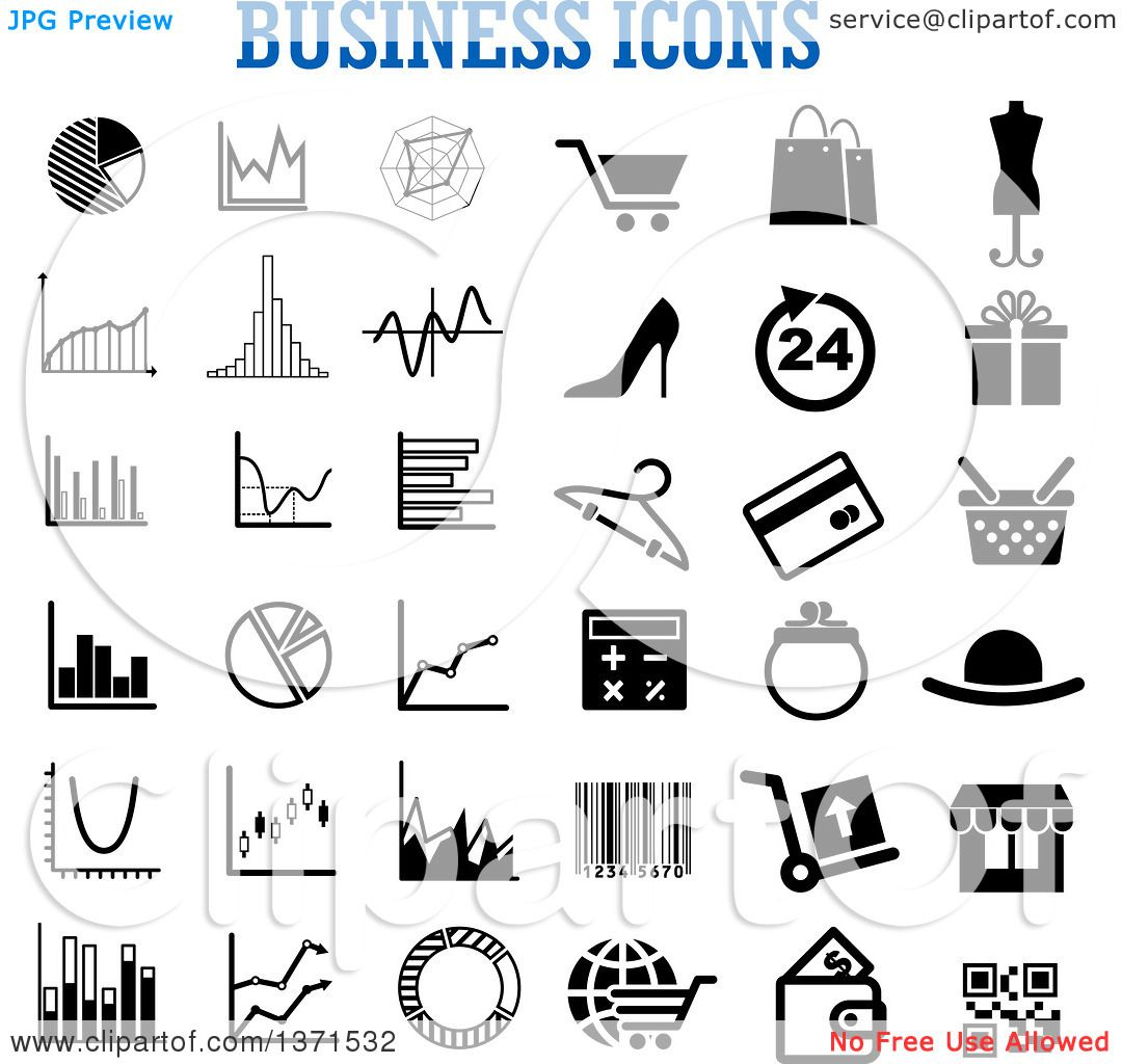 Clipart Of Black And White Business Icons Over Text