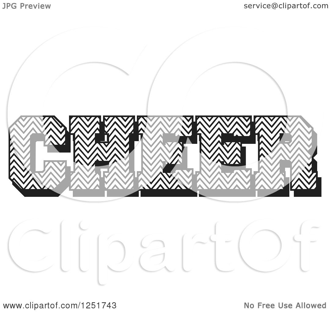 Clipart Of Black And White Chevron Patterned Cheer Text