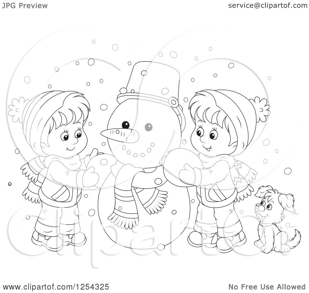 Clipart Of Black And White Children Making A Snowman